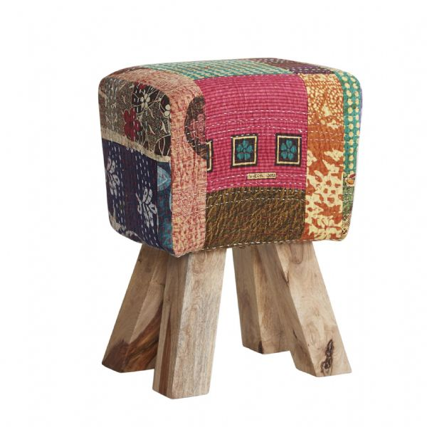 Multi Coloured Footstool | Textured fabric footstool with wooden legs.